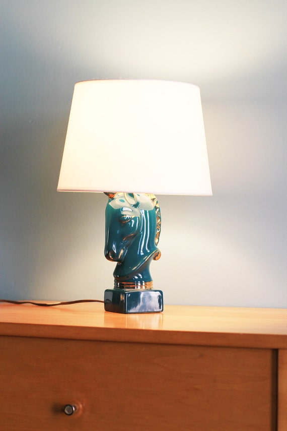 Reserved for Michelle  only - Please Do Not Purchase -Vintage Teal Unicorn Stallion Lamp