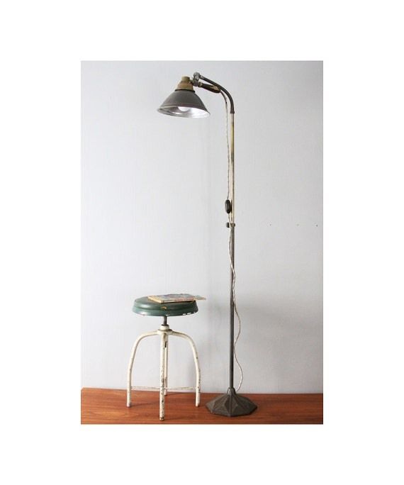 vintage industrial floor lamp adjustable by thearbitrarium. Black Bedroom Furniture Sets. Home Design Ideas