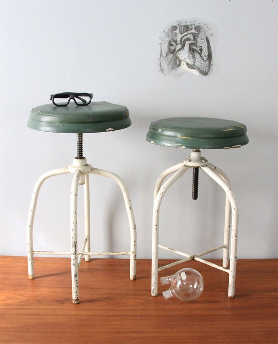 Industrial Swivel Stools - Vintage Pair