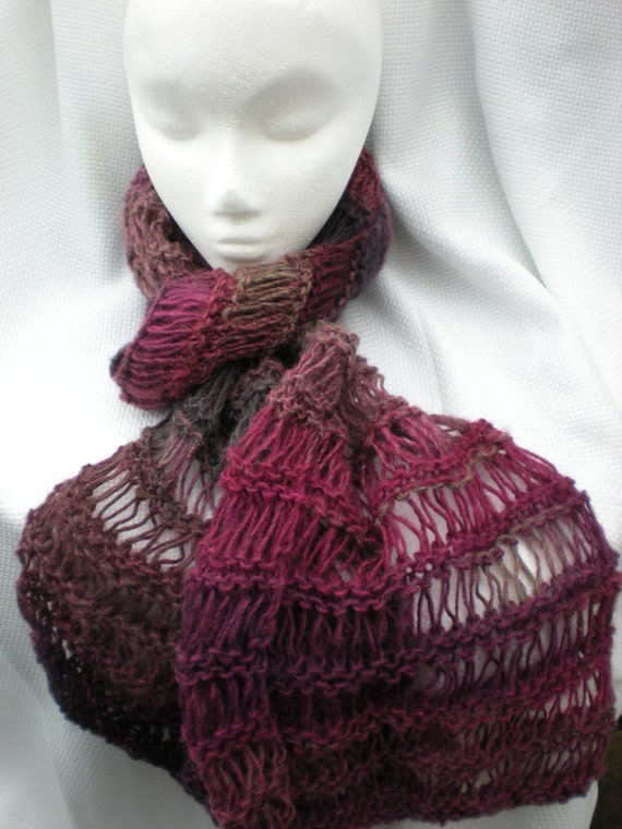 Long lacy knitted wool scarf (with fuchsia, pink, gray, black, purple tones)