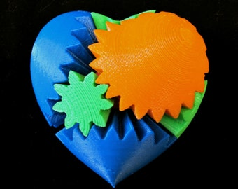 Valentine's Day Geek Love 3D Printed Mechanical Gear Heart Toy
