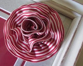 Red and White Grosgrain Ribbon Brooch