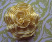 Yellow and White Grosgrain Ribbon Brooch