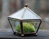 Vintage Glass & Brass Pentagon Display Box