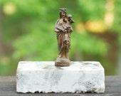 """Vintage European Brass 3""""  Madonna & Child Statue"""