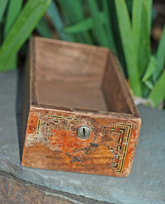 Old Rustic Antique Wooden Desk Drawer Box with Key Hole