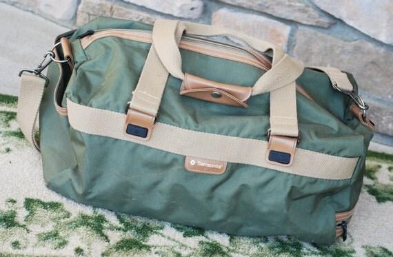 Vintage Samsonite Khaki Green Duffle Shoulder Bag Luggage