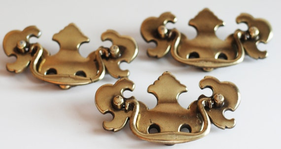 A Collection of 3 Vintage Chippendale Style Brass Furniture Drawer Pulls ....Brass Handles