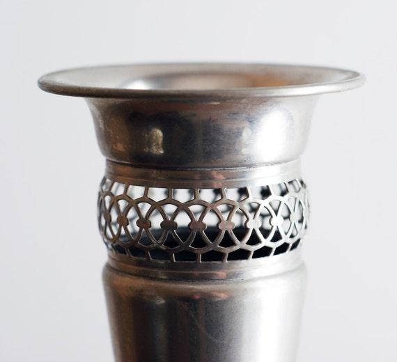 Vintage Tall Art Deco Hollywood Regency Silver Plated Vase