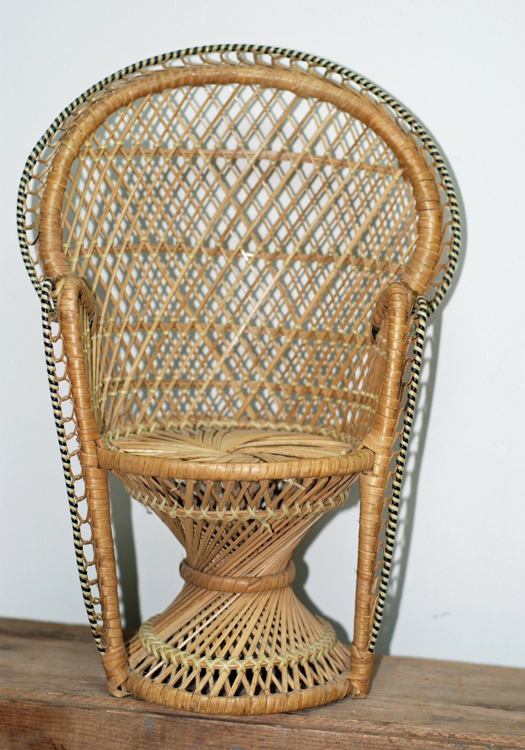 Vintage Buri Wicker 16 Peacock Chair For Doll Or