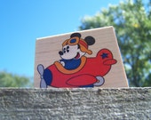 NEW Rubber Stampede 'Mickey Plane Ride' Rubber Stamp