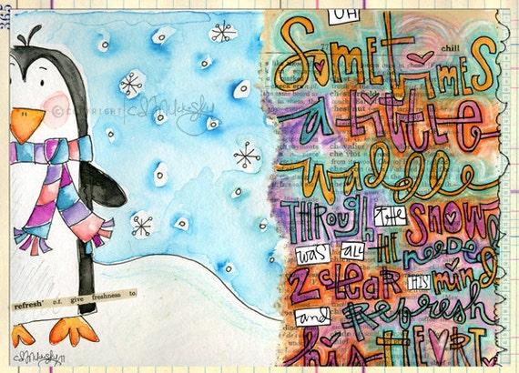 A Little Waddle by CD Muckosky- mini art prints, set of 10