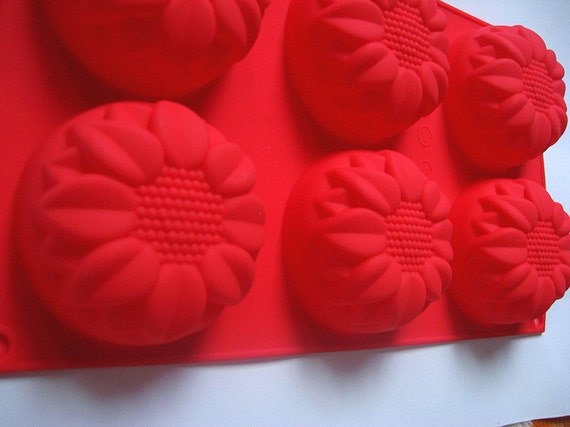 Silicone Cake Mold / Soap Mold with 6 sunflowers