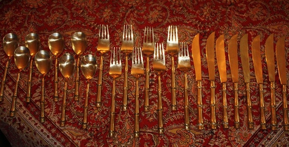 Reserved for JanelHolihay.Mid Century Solid Weight Bronze Goldware Bamboo Flatware Thailand 39 Pieces