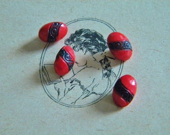 Vintage - Gorgeous oval carved red glass buttons - Lot of 4  -