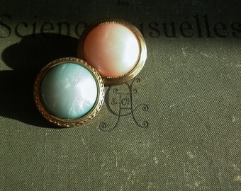 Vintage - Very nice faux pearl blue or peach color buttons - Set of 14 -