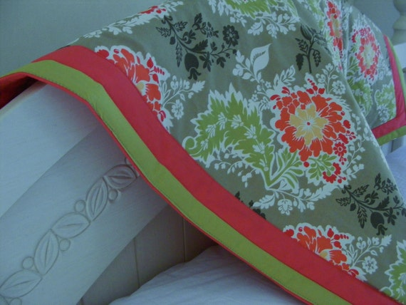 Baby Bedding Crib Quilt  Stroller Cotton and Organic Fleece Toddler Blanket / Coral Green