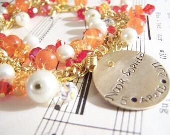 Mommy Gift Hand Stamped Charm Bracelet, Brass Charm Bracelet, Mommy Bracelet, Summer Jewelry, Summer Bracelet Gold Bracelet