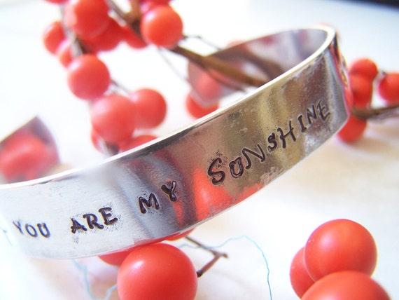 You Are My Sunshine, Handstamped Bracelet, Hand stamped Personalized bracelet, Mommy jewelry, mother braceelet