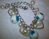 Free shipping white evil eye with glass pearls hearts silver plated charm bracelet ( protection and good luck bracelet)