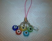 Free shipping USA, Multi colored evil eye beaded cell phone charm/ zipper pull (protection and good luck)