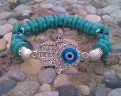 Silver hamsa hand w/blue eye turquoise gemstone & swarovski crystal beaded stretch bracelet (free shipping USA)