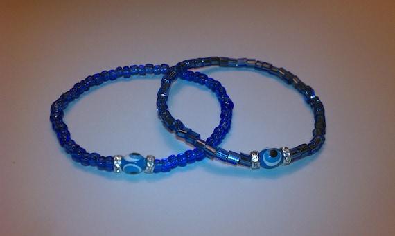 Set of 2 blue evil eye beaded stretch bracelets ( free shipping usa)