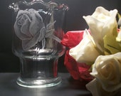 rose bud glass Votive candle holder , hand engraved glass ,  one of a kind - GlassGoddessNgraving