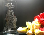 Personalized glass rose vase, hand engraved glass cylinder vase , glass art , gift ideas Mothers day