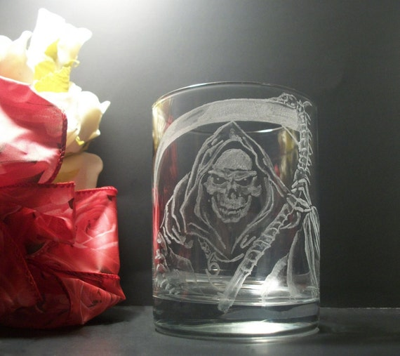 Grim reaper , skull death tumbler glass , etsy cyber monday free shipping