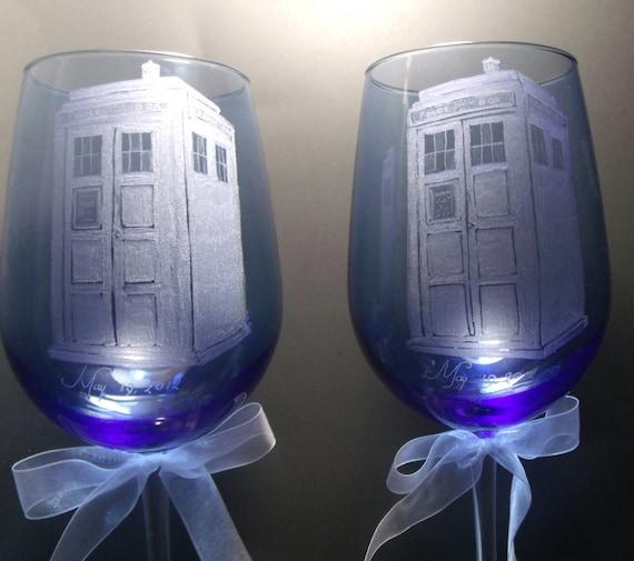 police box tardis style doctor who wedding theme blue wine glasses hand engraved glassware bridal toasting