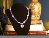 Lavender Jade and Opal Flower Necklace