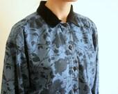 Vintage 80's Floral Denim Velvet Collar Shirt Blouse
