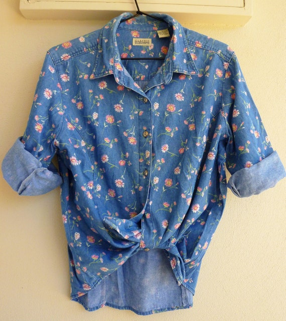 Denim shirt with floral print (xs - large) Reserved for 1 day