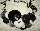 NEWSPRINT- Vintage Button Necklace -  Vintage button Jewelry -  BLACK - White - GRAY - - LilyBankButtonry
