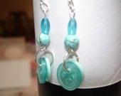 Button Earrings - Dangle Earrings - Aqua - Turquoise blue buttons - Blue glass beads