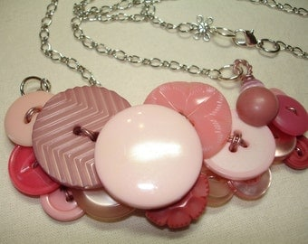 TICKLED PINK - Button Necklace -  Vintage button Jewelry - PINK
