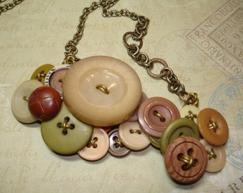 "Button Necklace - ""THE NATURAL"" -Vintage Button Jewelry - Tan, GREEN, and Leather Buttons"