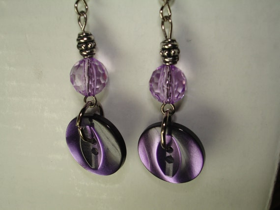 Button Earrings - Dangle Button Earrings - PURPLE - SILVER - Silver and Purple Earrings