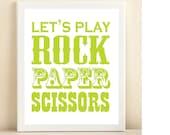 """Neon Green """"Rock, Paper, Scissors"""" print poster"""