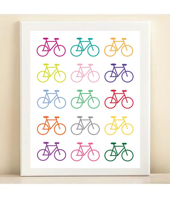 Church Nursery Pictures Google Search: Items Similar To Colorful Bicycle Print Poster On Etsy