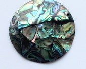 1 Large Paua / Abalone Shell Pendant 48 x 48 mm