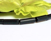 25 x Black Obsidian Gemstone Tube Beads 12 x 4 mm