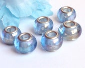 6 Lampwork Beads / Spacers - fit Pandora /Troll Charm Bracelet - Pale Blue AB Shimmer