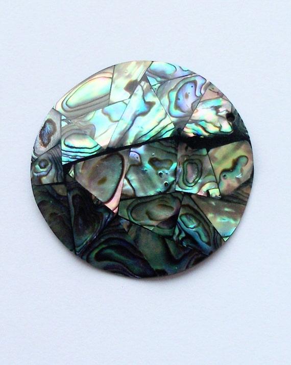 1 Large Paua / Abalone Shell Pendant 48 x 48 mm