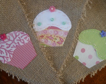 Burlap Cupcake Pennant Banner Bunting with Hand Appliqued Cup Cakes