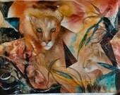 """Florida Panther Original watercolor, 27.5""""x21.5"""", dlrs435"""