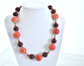 Virginia Tech Necklace, Orange & Maroon Hokie Necklace
