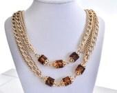 Vintage Gold Necklace, Amber & Gold Vintage Necklace, Triple Strand Chain Necklace, Sarah Convington, Vintage Gold