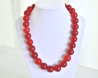 Valentines Day Necklace Chunky Red Necklace Bridesmaid Cherry Red Jade Necklace Red Statement Fourth of July Valentine's Day Ne
